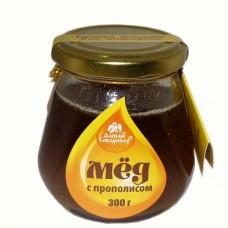 Мёд с прополисом в стеклянной банке 300 г
