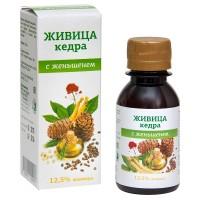 Живица кедровая 12,5% на кедровом масле с экстрактом женьшеня, 100мл